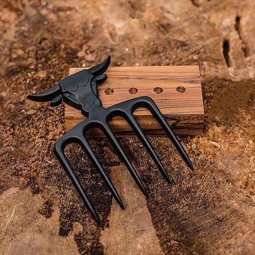 Imagem Garfo tridente black com base de madeira