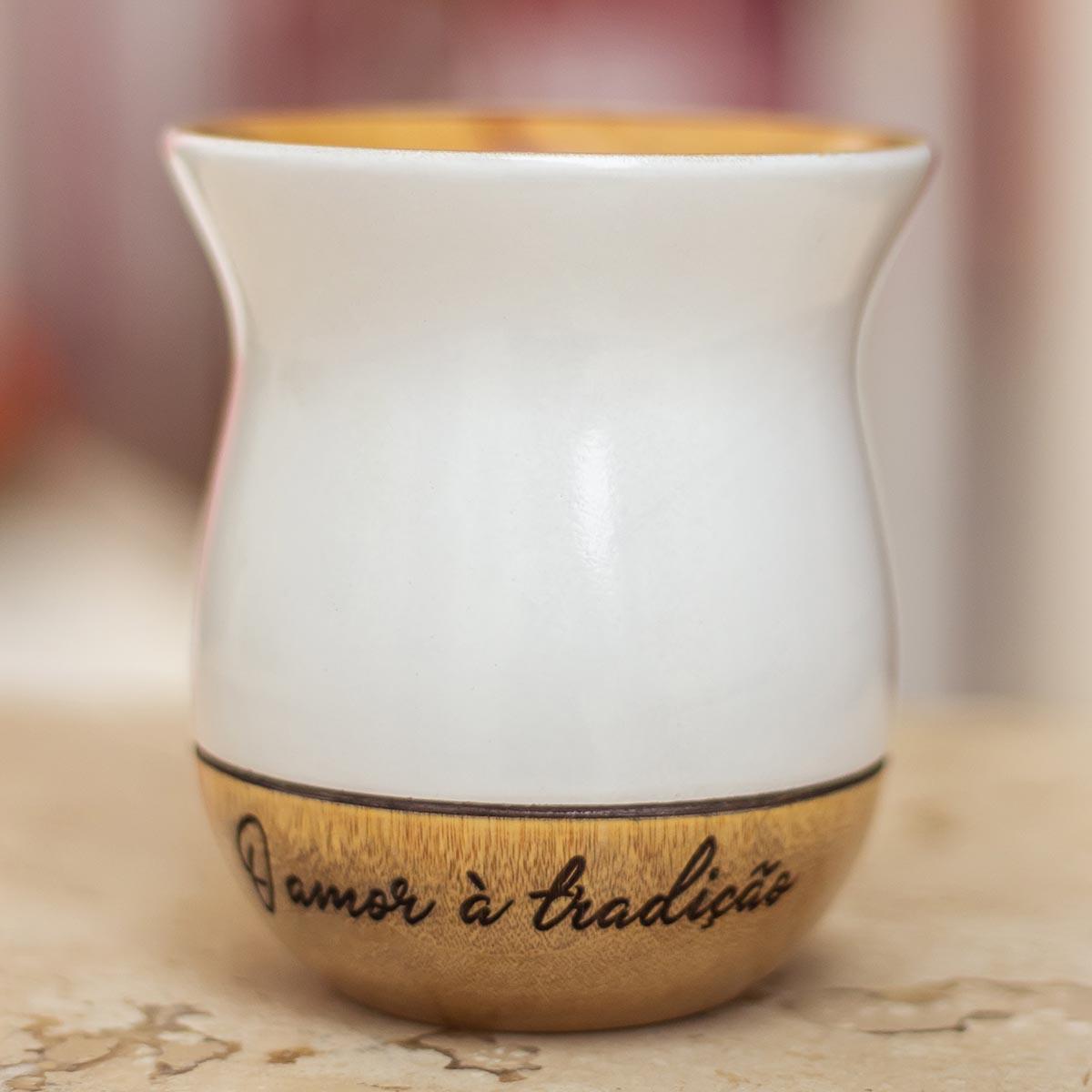 Imagem CUIA de madeira imbuia BRANCA premium PERSONALIZADA: O amor à tradição